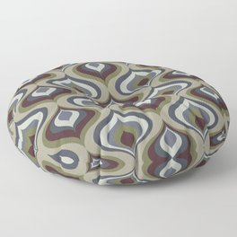 Blue, Gray, Green and Brown Geometric Retro Pattern Floor Pillow