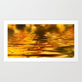 bstract image of light reflected on gold color water Art Print