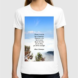 Happiness Is The Key To Success Uplifting Inspirational Quote With Blue Sky Filled With Clouds T-shirt