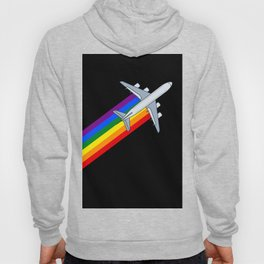 Rainbow Aircraft 747 jumbo jet travel gay lgbt rainbow Jet  Hoody