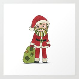 Santa Claus with beard and green mustache and sack with gifts Art Print