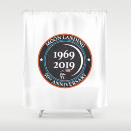 Moon landing 50th year anniversary badge Shower Curtain