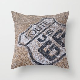 The mythical Route 66 sign in California, USA. Throw Pillow