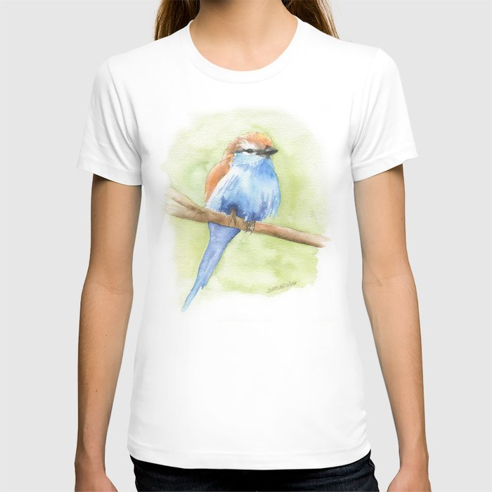 Racket-tailed Roller Watercolor Bird T-shirt