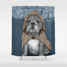 English Bulldog in Stonehenge Shower Curtain