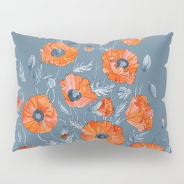 Red poppies in grey Pillow Sham