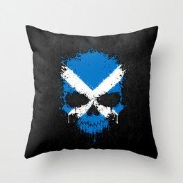 Flag of Scotland on a Chaotic Splatter Skull Throw Pillow