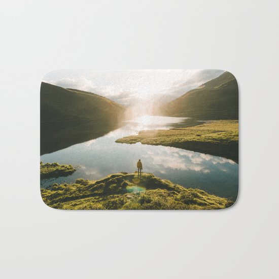Switzerland Mountain Lake Sunrise - Landscape Photography Bath Mat