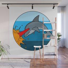 Laser Dolphin 1980s Retro Sci-Fi Design Wall Mural