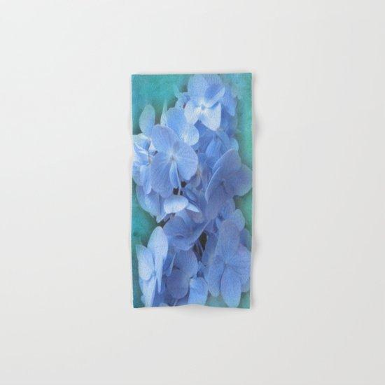 Blue Hydrangea on Green Hand & Bath Towel