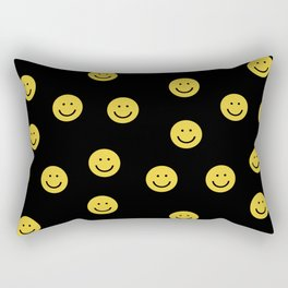 Happy Face - smiley, smiles, happy, emoji, cute, 90s, happy face Rectangular Pillow