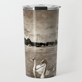 Serene Swans Watercolor  Travel Mug