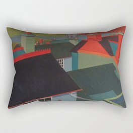 Red on blue Rectangular Pillow