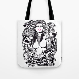 GIRL with SKULL AND SNAKE - PINK Tote Bag