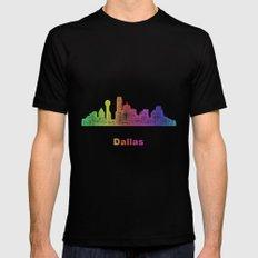 Rainbow Dallas skyline Black MEDIUM Mens Fitted Tee