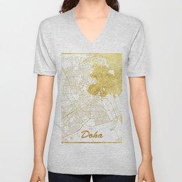 Doha Map Gold Unisex V-Neck
