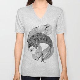 black and white koi fish Unisex V-Neck
