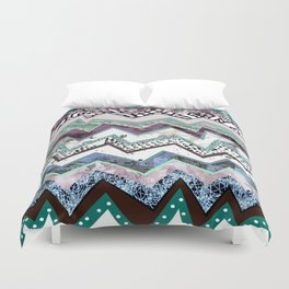 Cool Blues Zigzags Abstract Duvet Cover