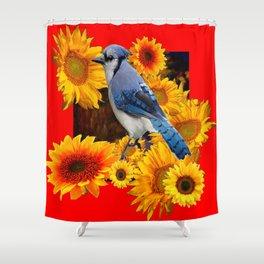 RED SUNFLOWERS  & BLUE JAY ART Shower Curtain