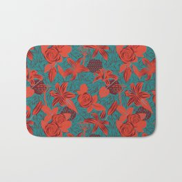 Linocut look in blue with roses Bath Mat