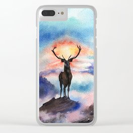 Deer on the top of the World - Watercolor Painting Art Clear iPhone Case