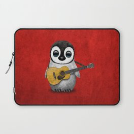 Musical Baby Penguin Playing Acoustic Guitar on Deep Red Laptop Sleeve