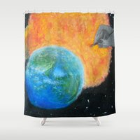 inception Shower Curtains featuring Painting Inception by Liz Mahoney