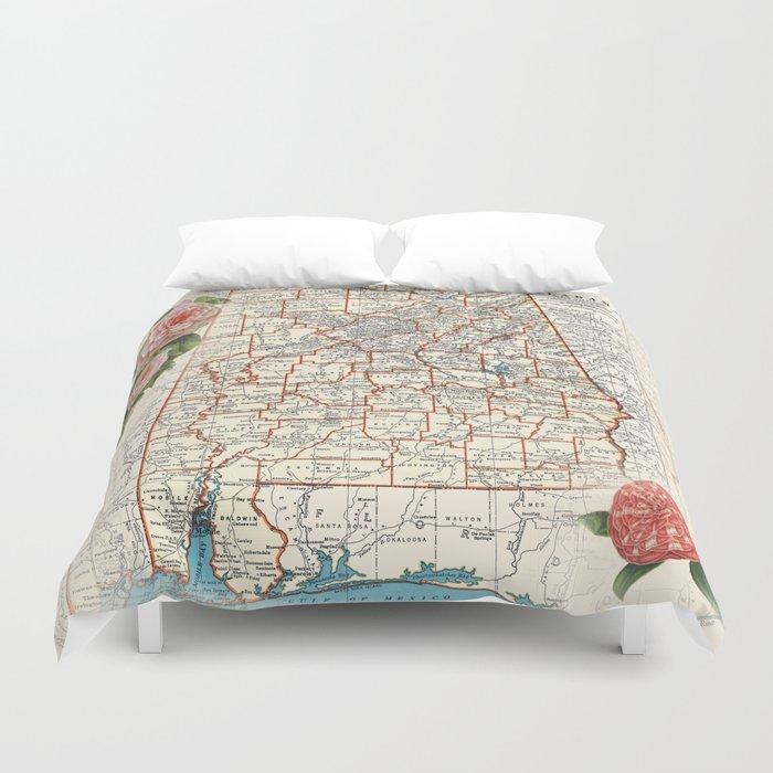 Alabama map with Camelias Duvet Cover