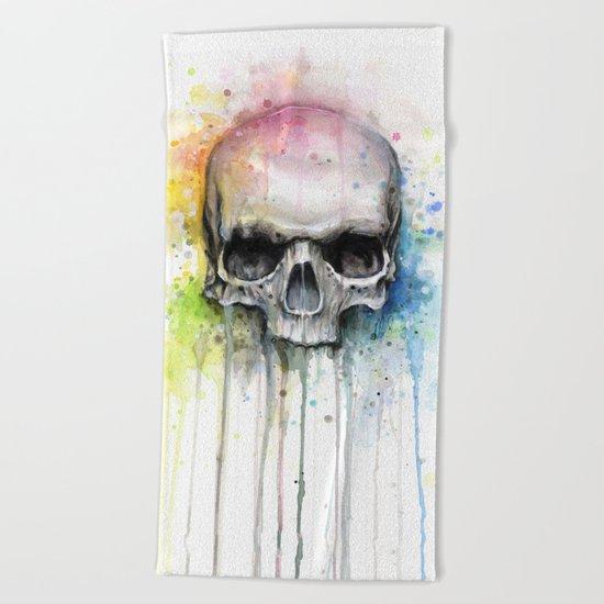 Skull Rainbow Watercolor Painting Skulls Beach Towel