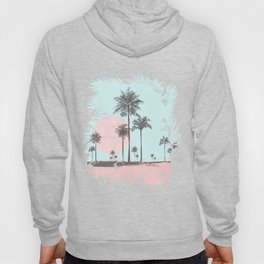 Beachfront palm tree soft pastel sunset graphic Hoody