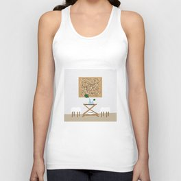 Midcentury Bar Cart and Palm Leaf Unisex Tank Top