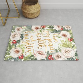 Watercolor roses & berries floral art with best wishes Rug