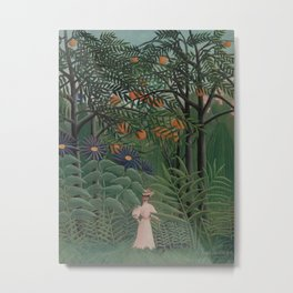 Woman Walking in an Exotic Forest Metal Print