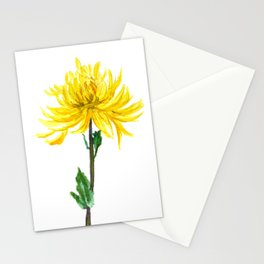 one yellow chrysanthemum Stationery Cards