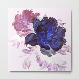 big blue floral Metal Print