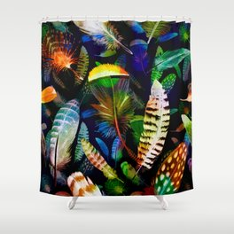 Colourful Feathers On Dark Navy Seamless Pattern Shower Curtain