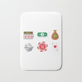 Cash, Slots, Chips, Dice & Cards Nevada Day Bath Mat