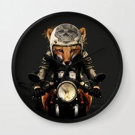 Fox Biker Wall Clock