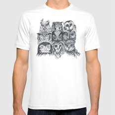 Nine Owls LARGE White Mens Fitted Tee