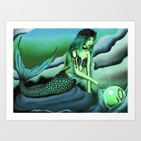 Water Gothic Mermaid Art Print