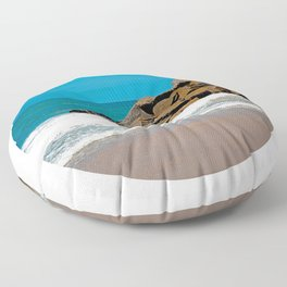 The Ocean Rocks! (Large Circular Image on Square Background) Floor Pillow