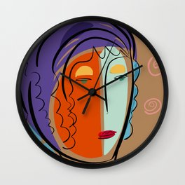 Minimal Expressionist Portrait Orange and Blue Wall Clock