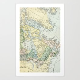 Vintage Map of The East Of Canada Art Print