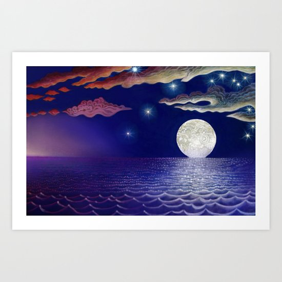 sunrise, moon, sea Art Print