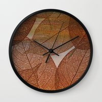 blankets Wall Clocks featuring Painterly Amber And Brown Leaf Abstract by Judy Palkimas