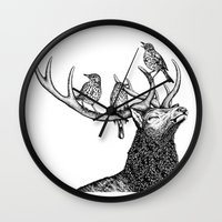river song Wall Clocks featuring Song by Natalie Toms Illustration