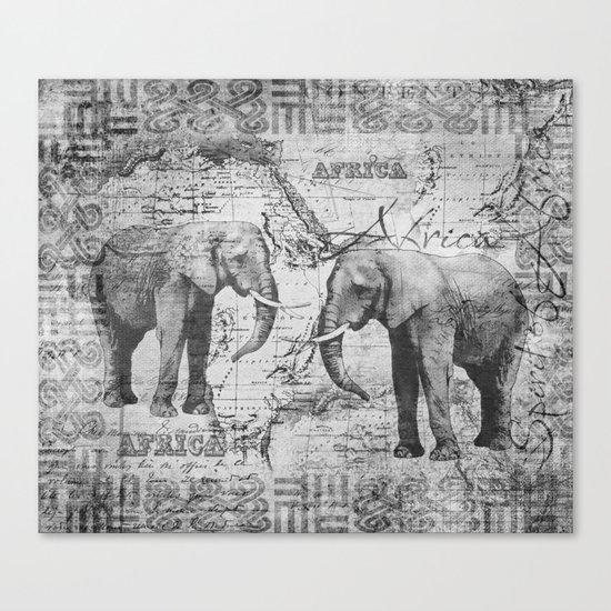 African Spirit Vintage Elephant black white Canvas Print
