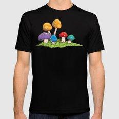 Mushrooms (Colors) Black Mens Fitted Tee MEDIUM