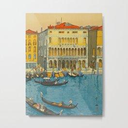Canal in Venice Hiroshi Yoshida Modern Japanese Woodblock Print Metal Print