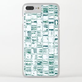 Green glassy look tiles or marble look abstract background design Clear iPhone Case